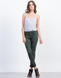 Front View of Solid Color Skinny Jeans