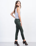 Side View of Solid Color Skinny Jeans