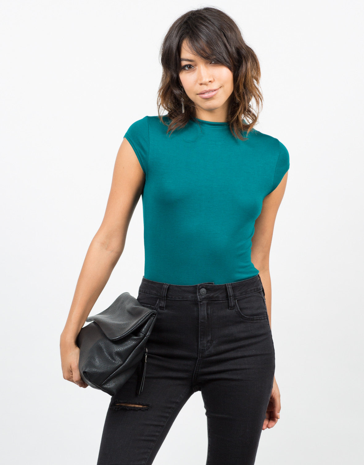 Front View of Solid Mock Neck Bodysuit