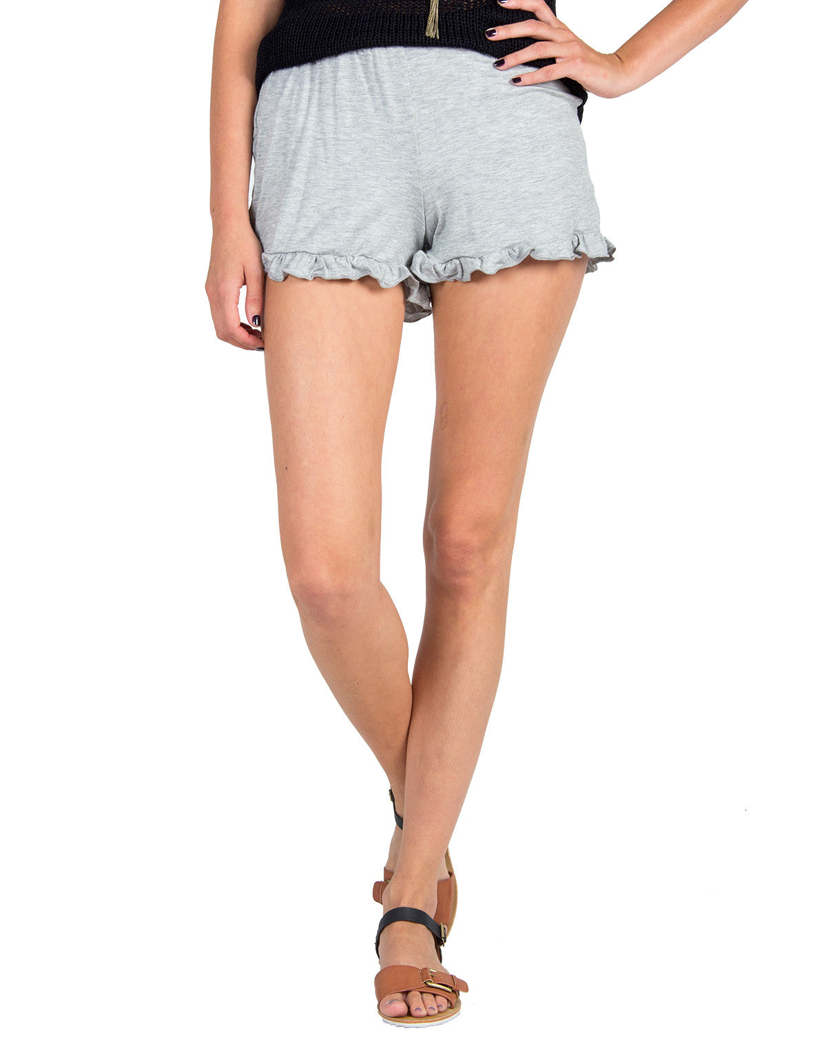 Solid Ruffle Bottom Lounge Shorts - Light Gray - 2020AVE