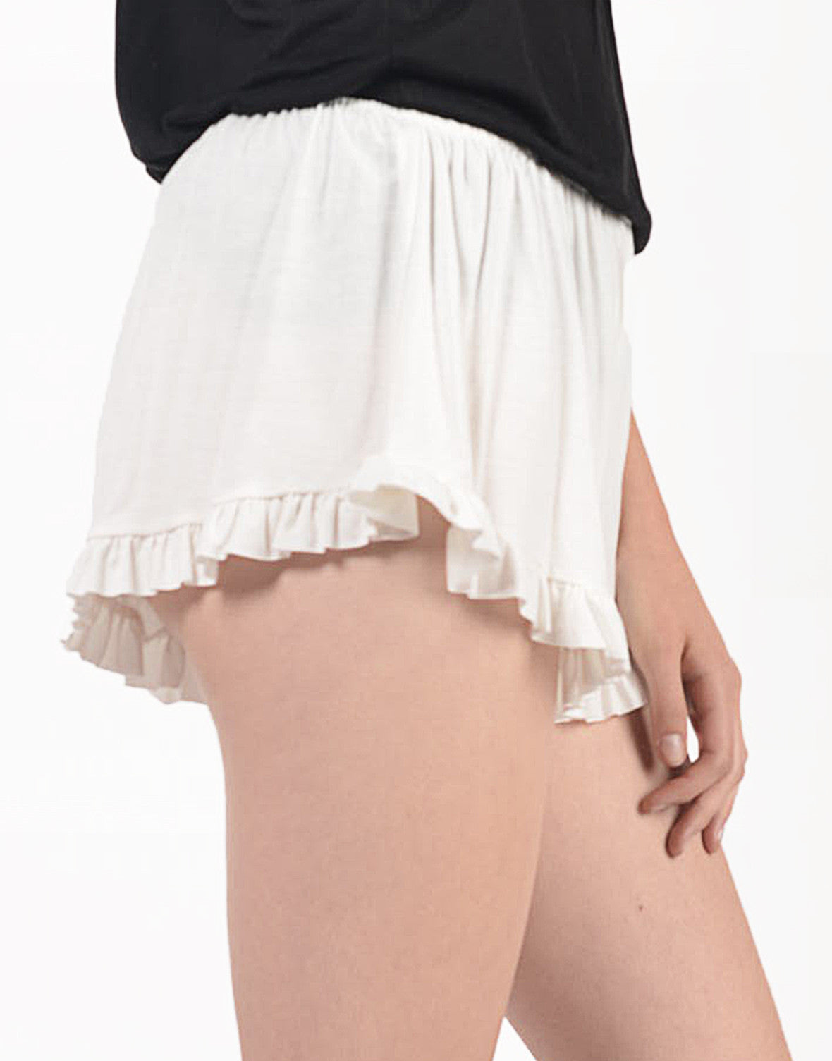 Detail of Solid Ruffled Shorts