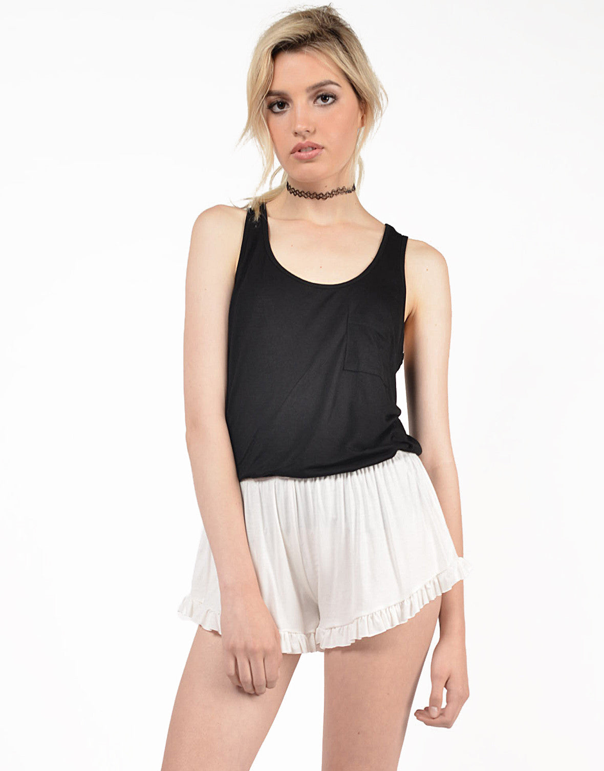 Front View of Solid Ruffled Shorts