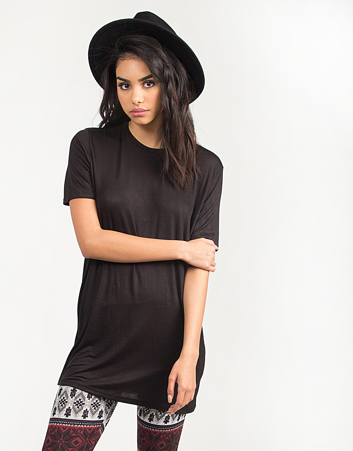 Solid Short Sleeved Tunic Top - Black - 2020AVE