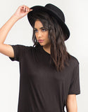 Solid Short Sleeved Tunic Top - Black