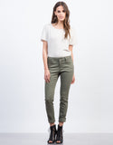Front View of Solid Skinny Pants