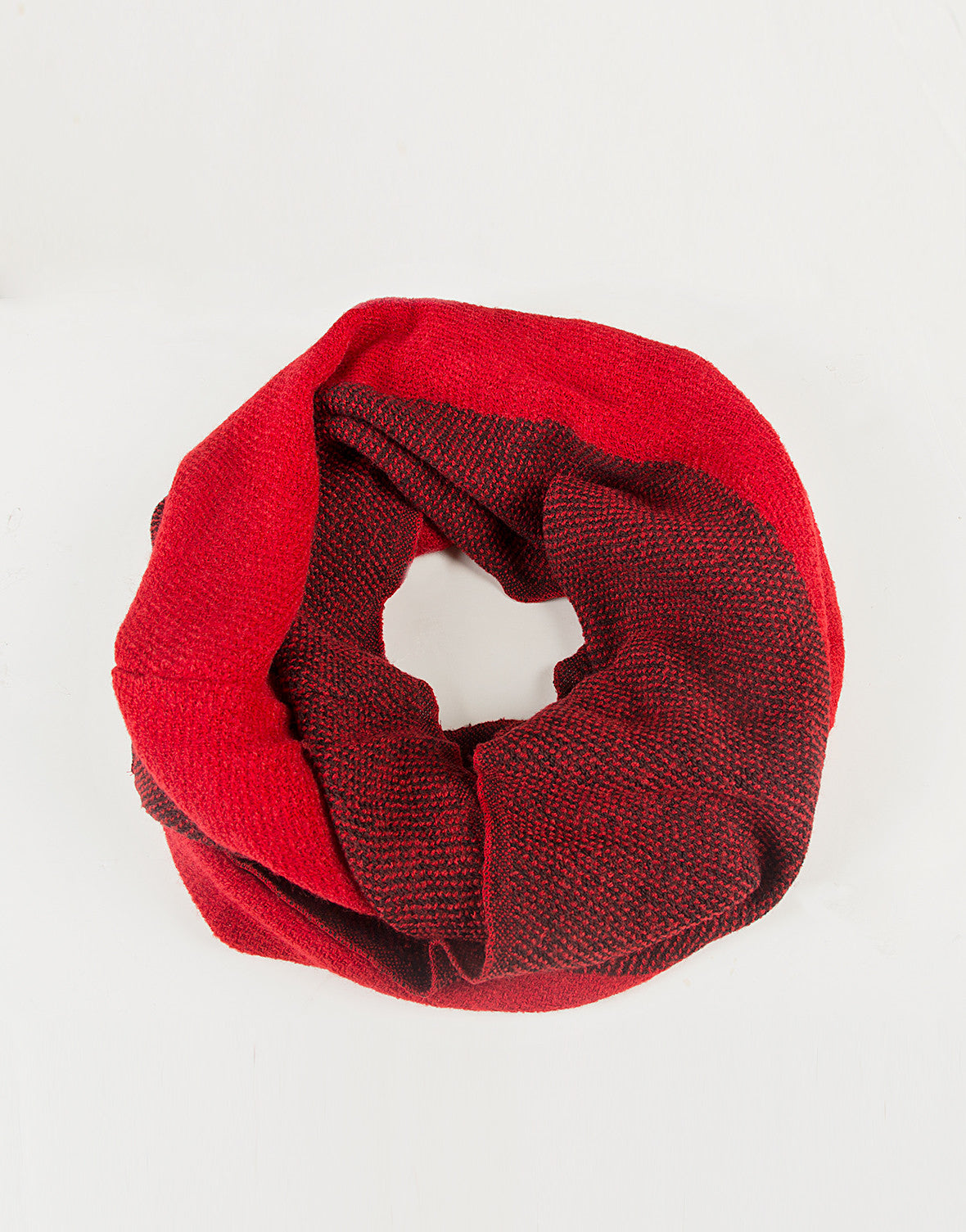 Solid Stripe Infinity Scarf - Red