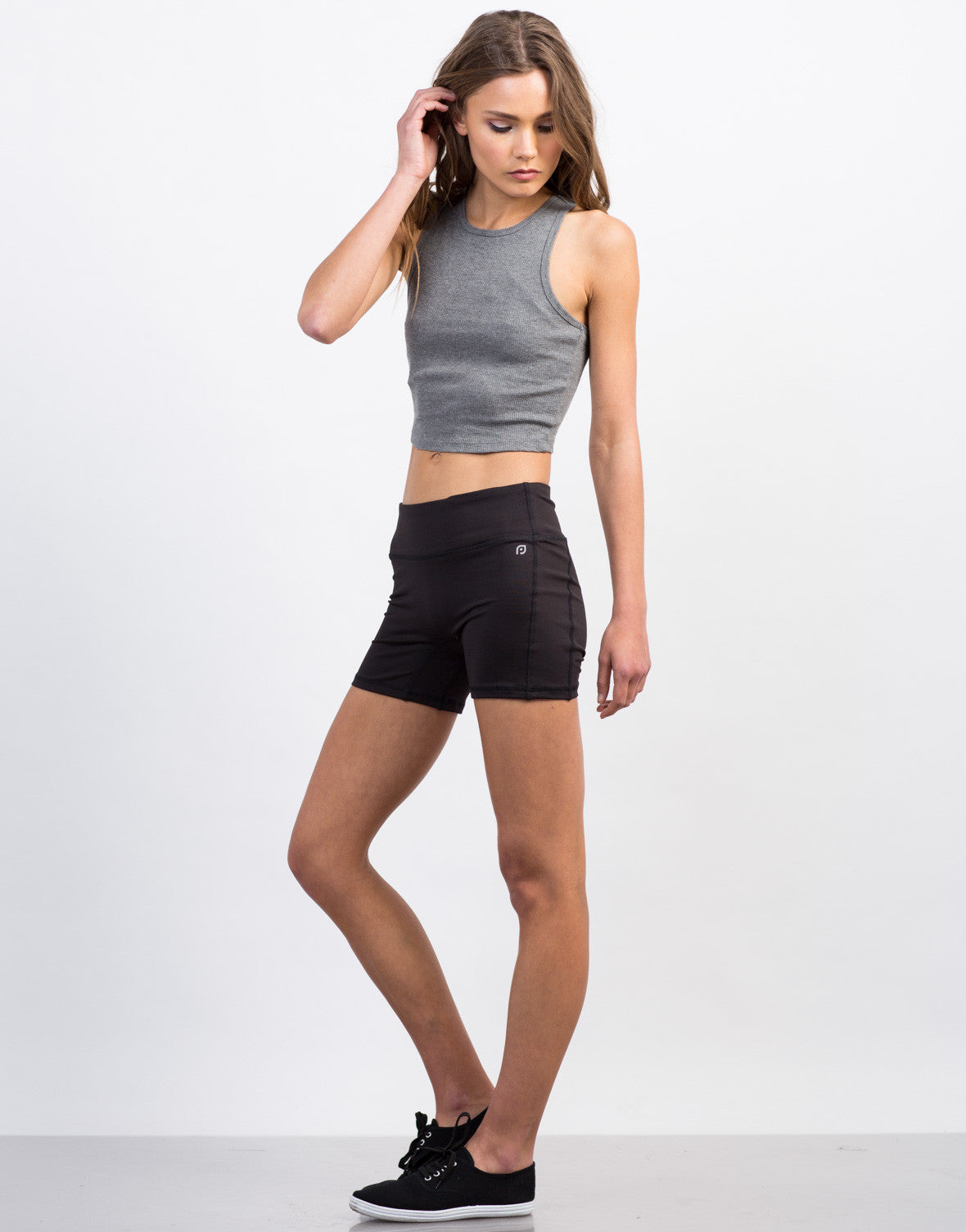 Side View of Spandex Activewear Shorts