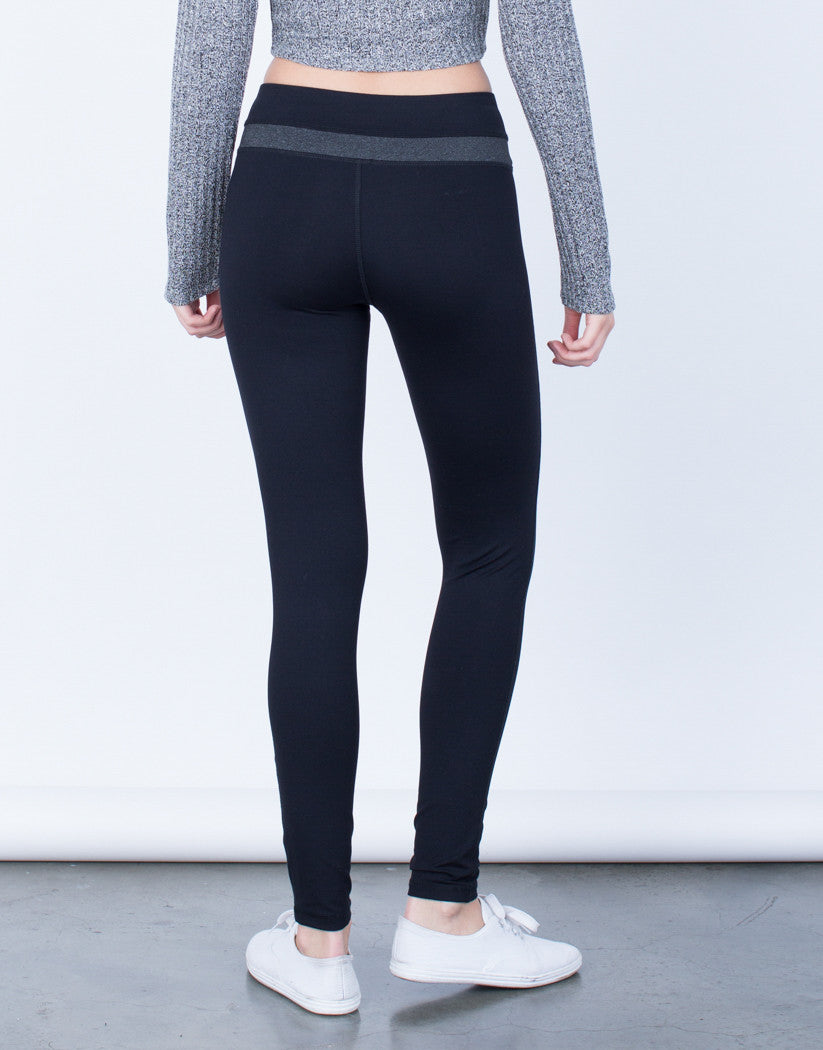 Back View of Spandex Stripe Activewear Leggings