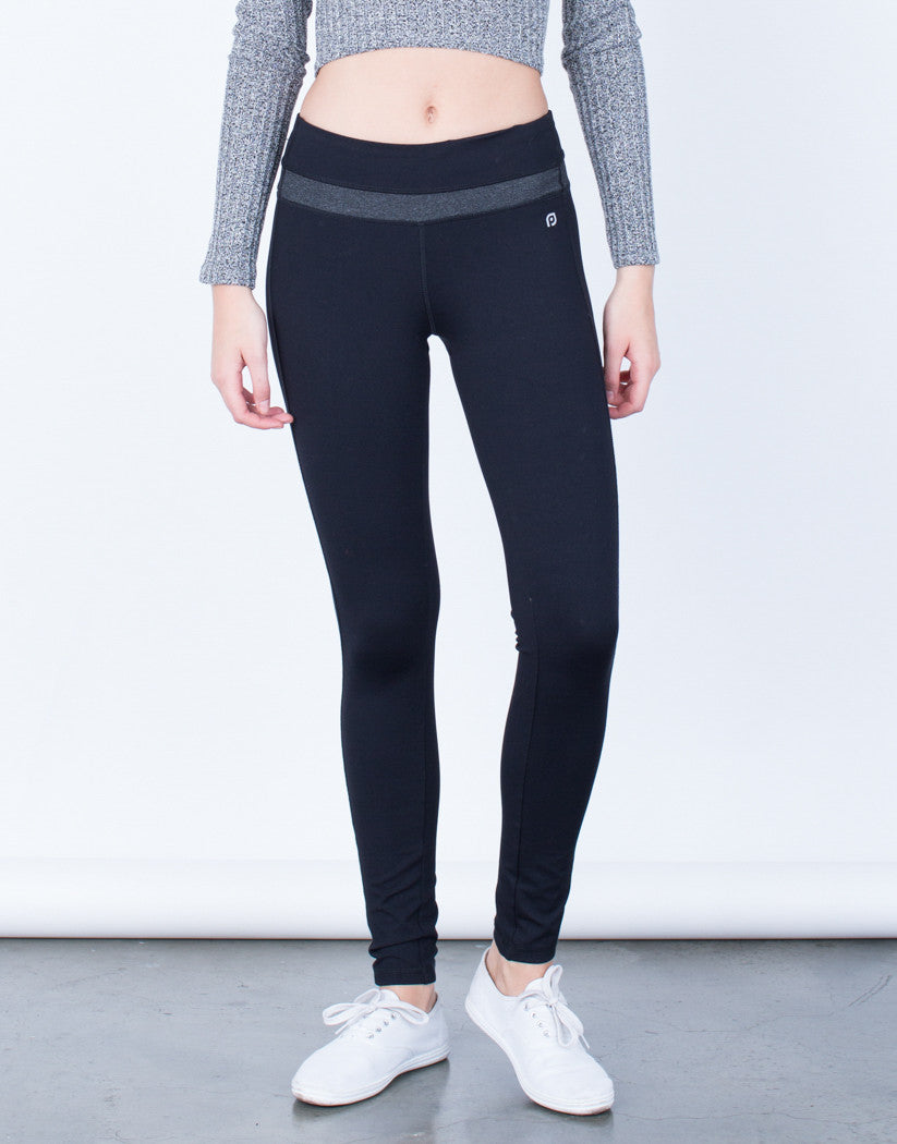 Front View of Spandex Stripe Activewear Leggings