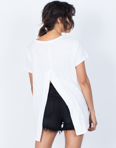 White Split Apart T-Shirt - Back View