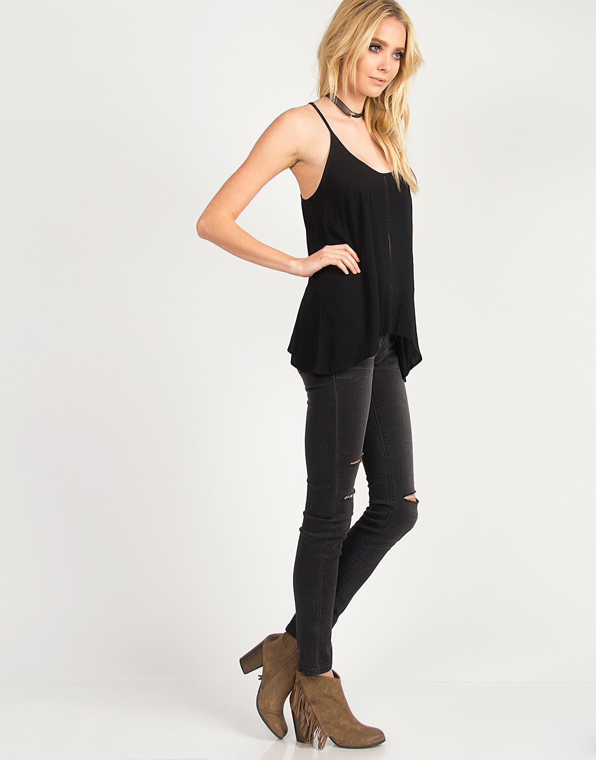 Split Back Gauze Cami - Black
