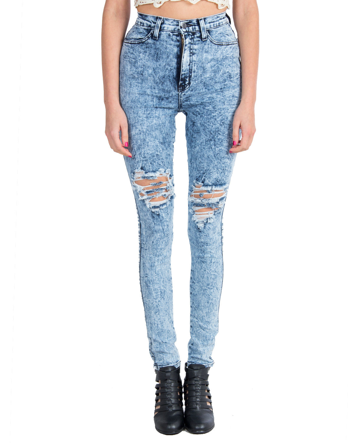 Split Knees Acid Washed Skinny Jeans