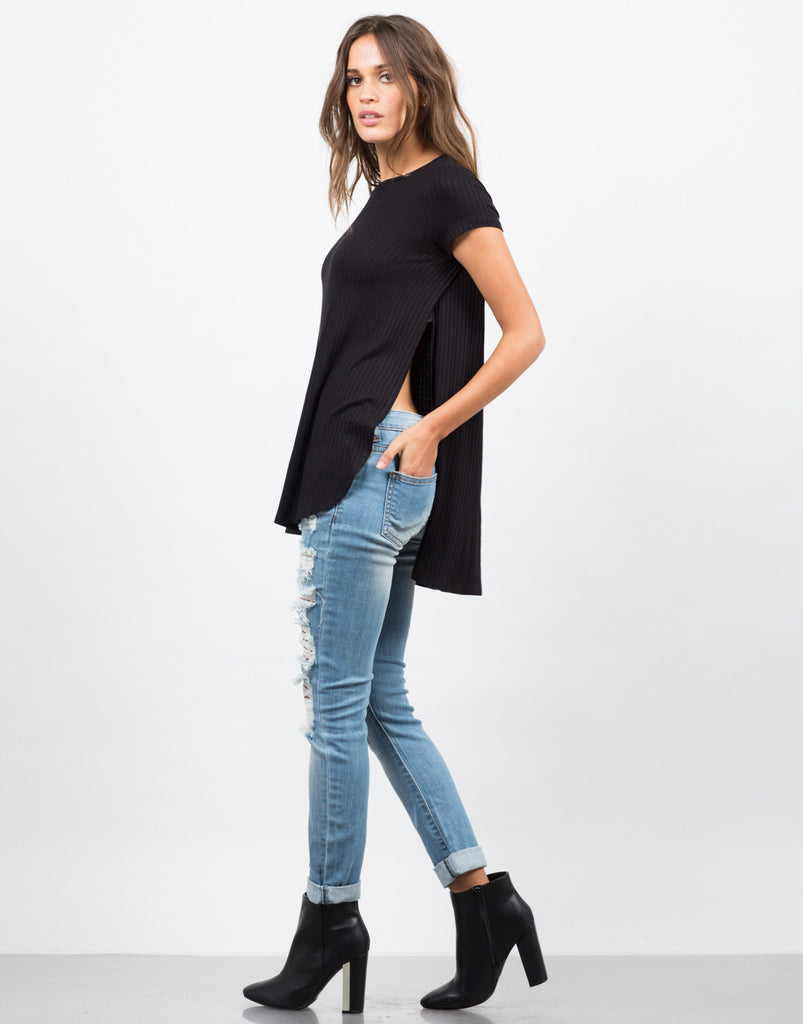 Split Ribbed Tee - 2020AVE