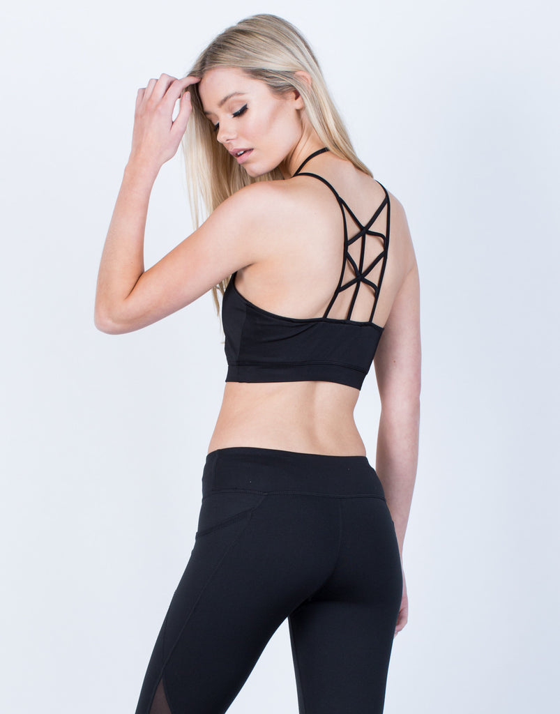 Back View of Sporty Caged Back Bralette