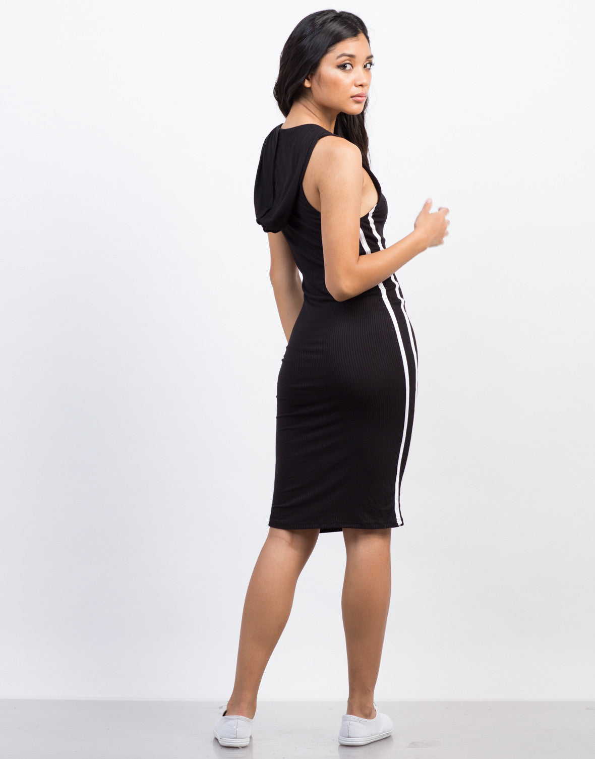 Back View of Sporty Hooded Midi Dress