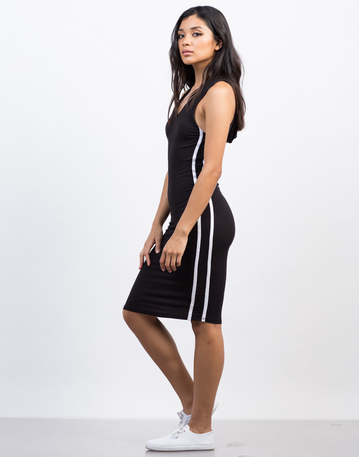 Side View of Sporty Hooded Midi Dress