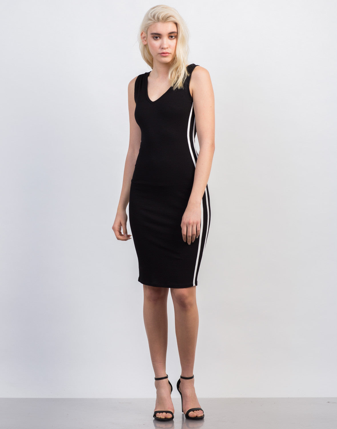 Front View of Sporty Ribbed Hoodie Dress