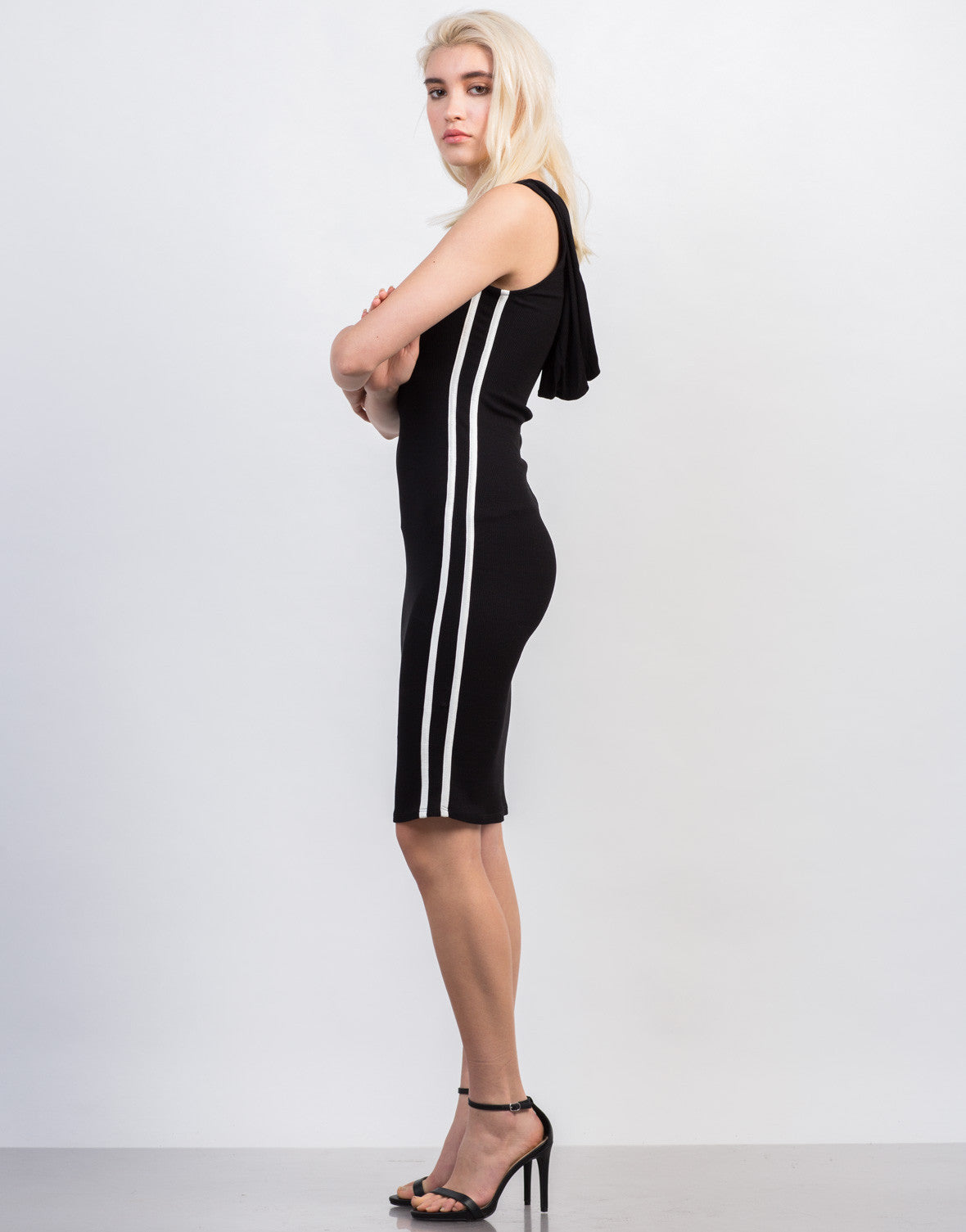 Side View of Sporty Ribbed Hoodie Dress