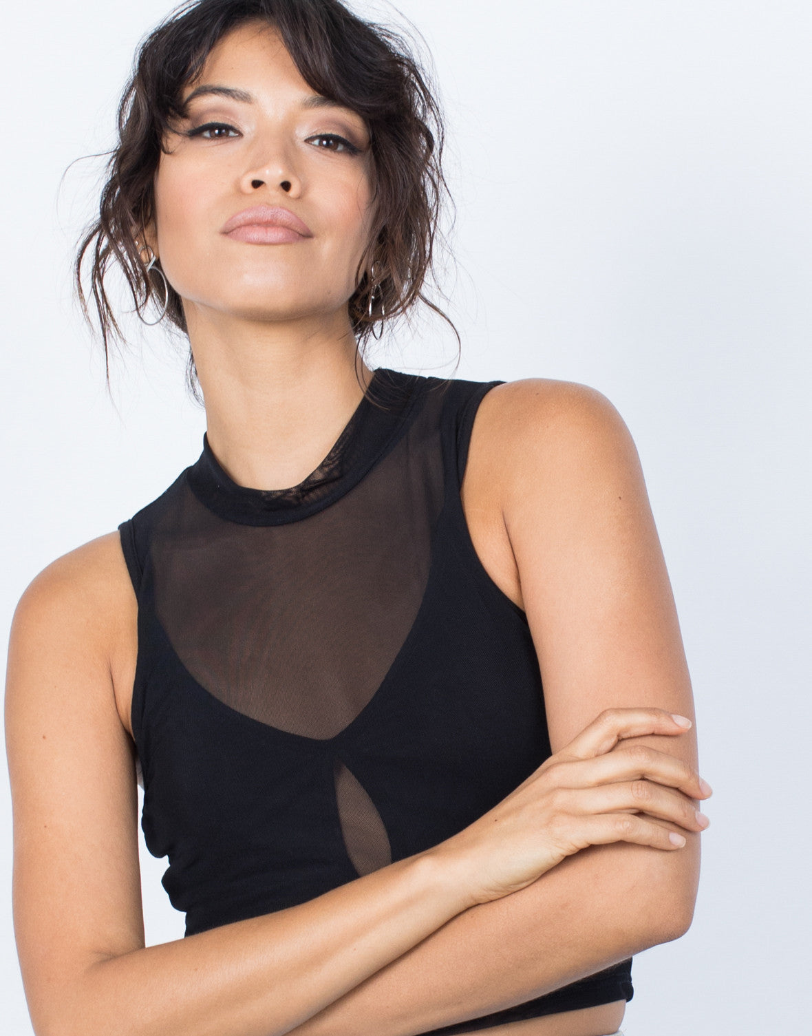 Black Sporty Sheer Crop Top - Detail