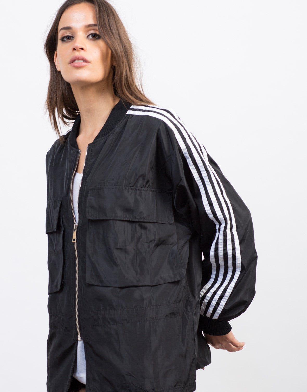 Detail of Sporty Striped Bomber Jacket