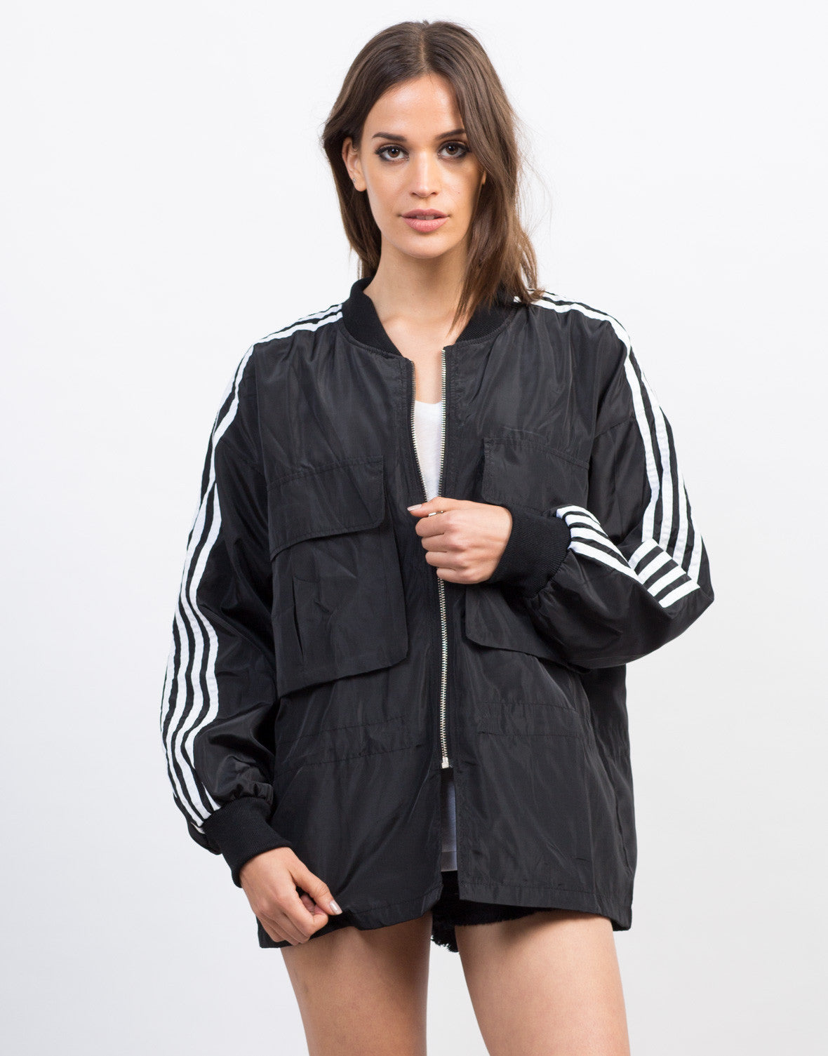 Front View of Sporty Striped Bomber Jacket