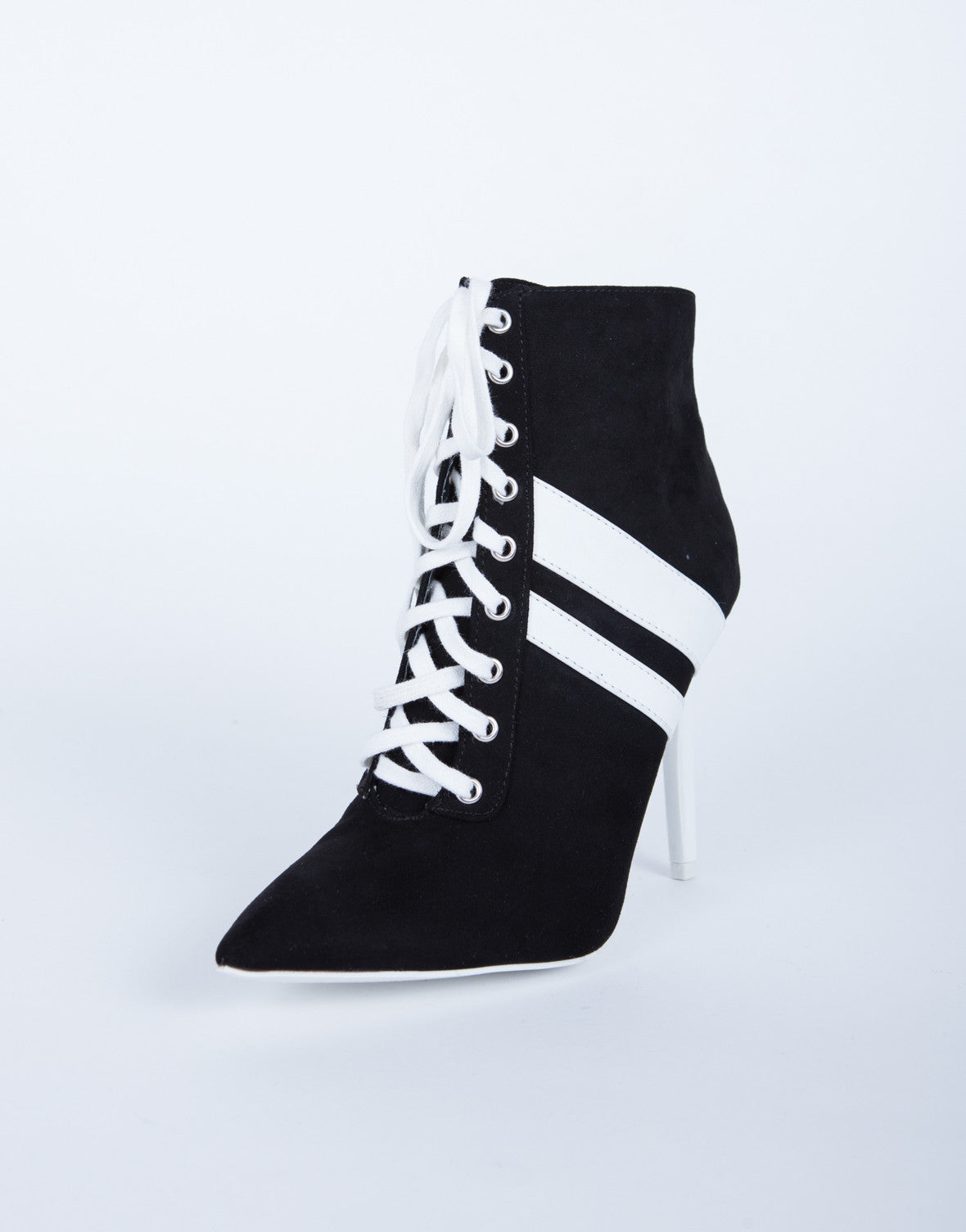 Sporty Striped Heel Booties
