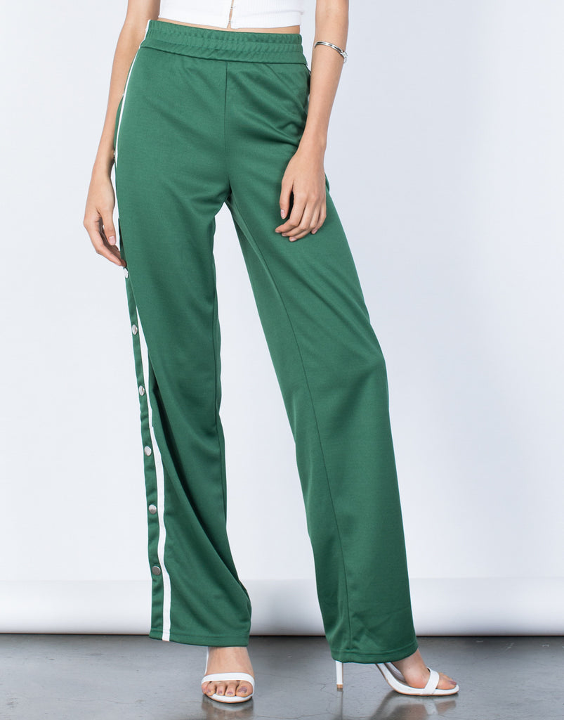 Green Sporty Striped Pants - Front View