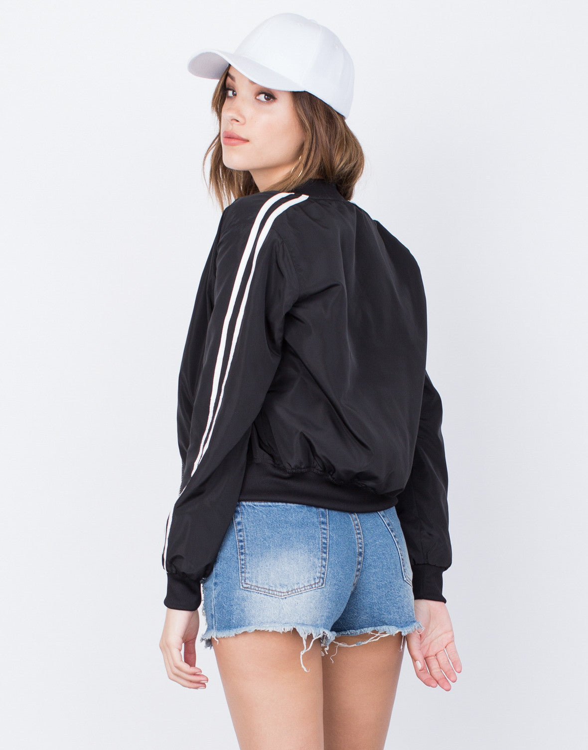 Back View of Sporty Zip Up Bomber