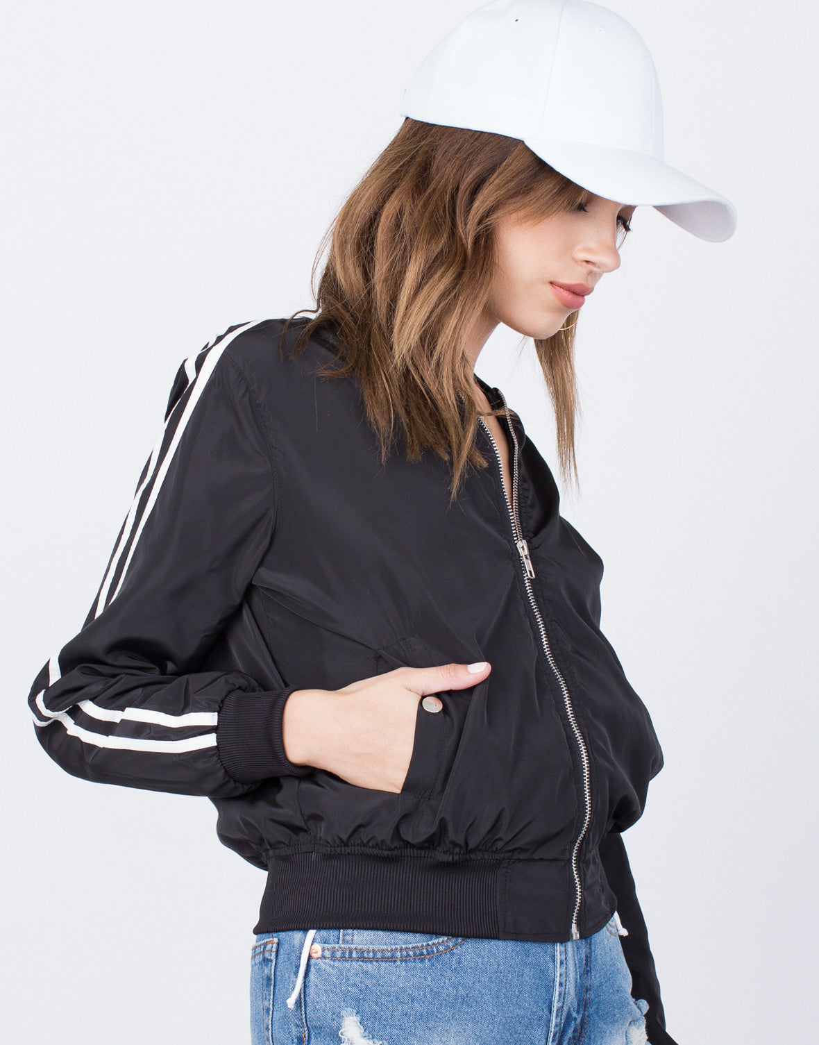 Detail of Sporty Zip Up Bomber