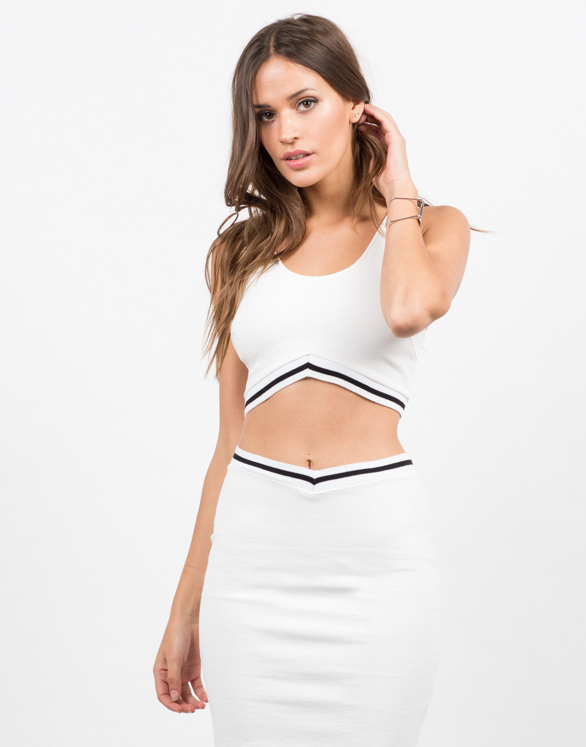 Front View of Sporty Cropped Top