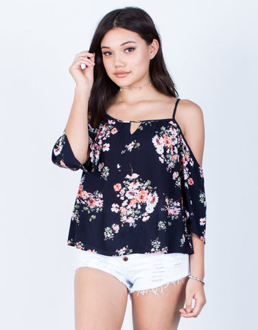 Front View of Spring Floral Blouse
