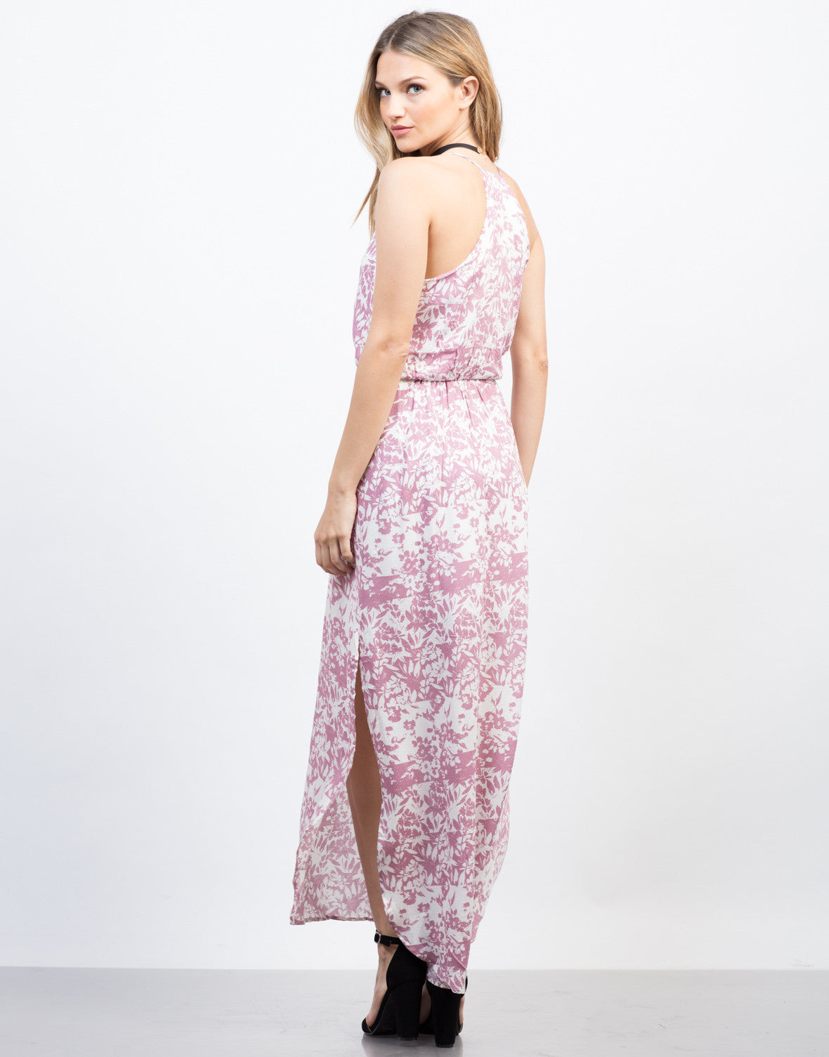 Back View of Spring Floral Maxi Dress