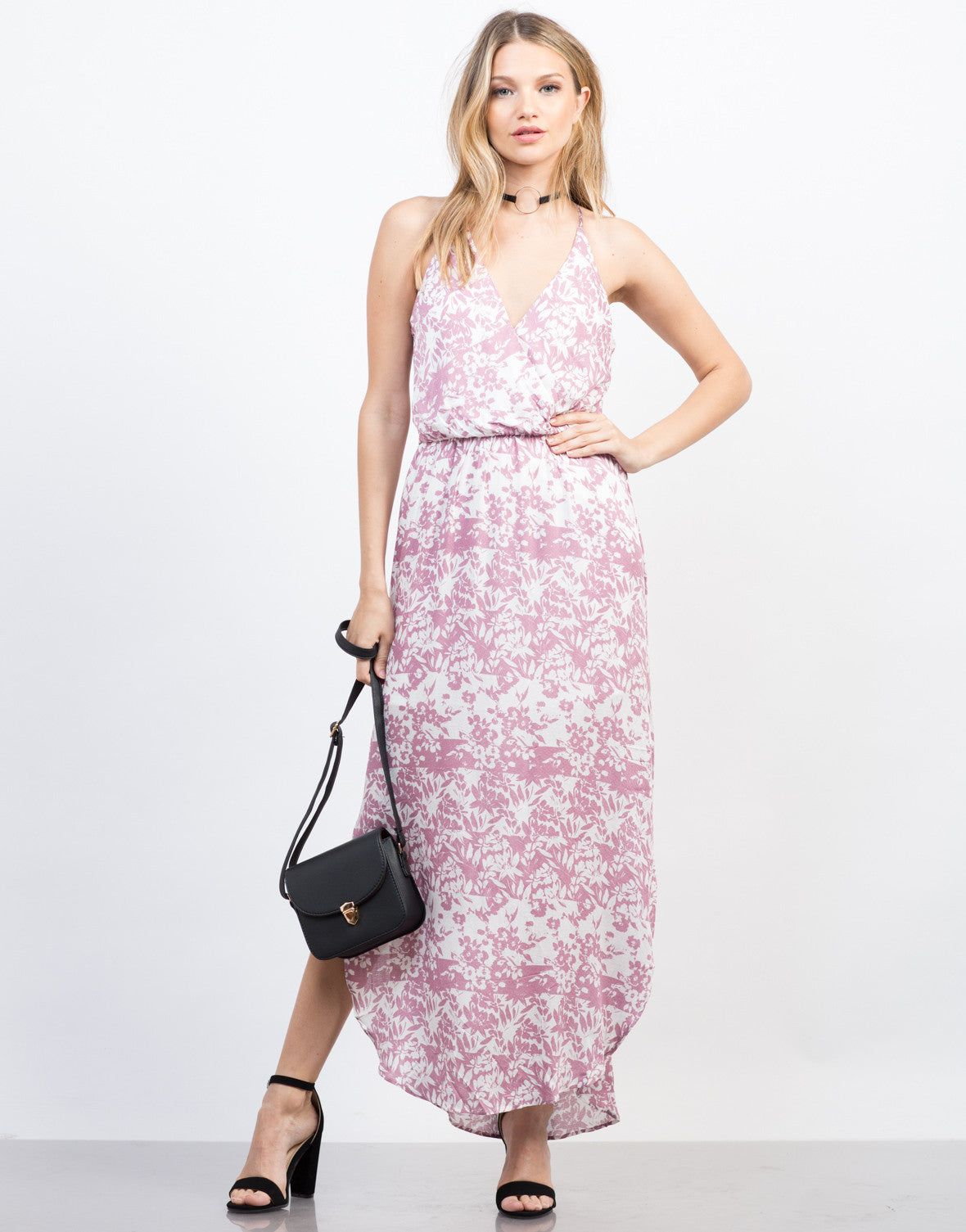 Front View of Spring Floral Maxi Dress