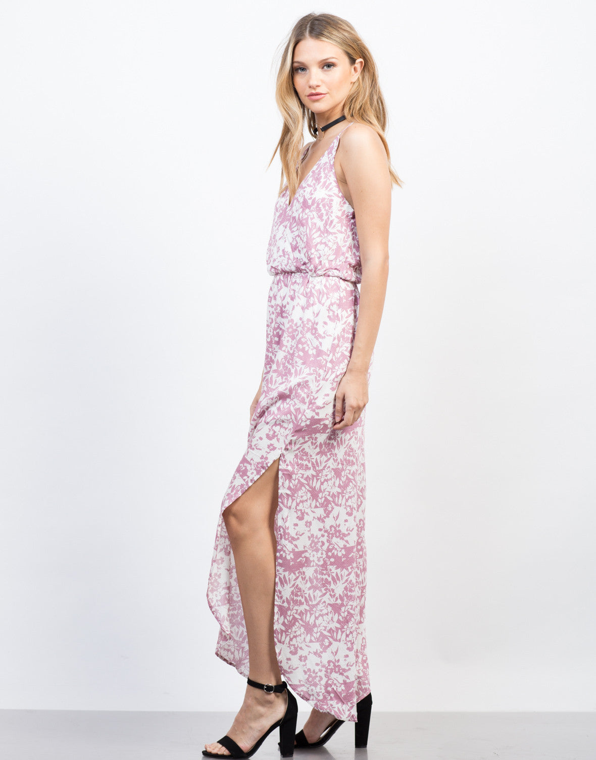 Side View of Spring Floral Maxi Dress