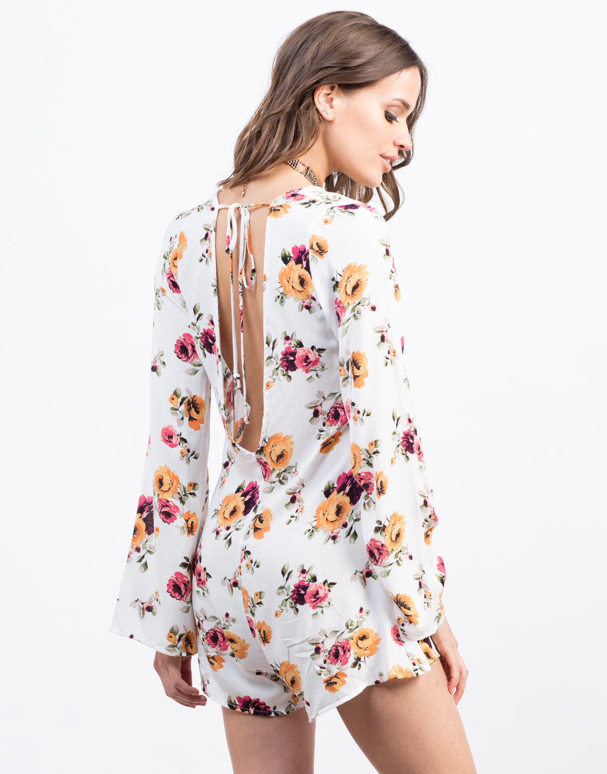 Back View of Spring Floral Romper