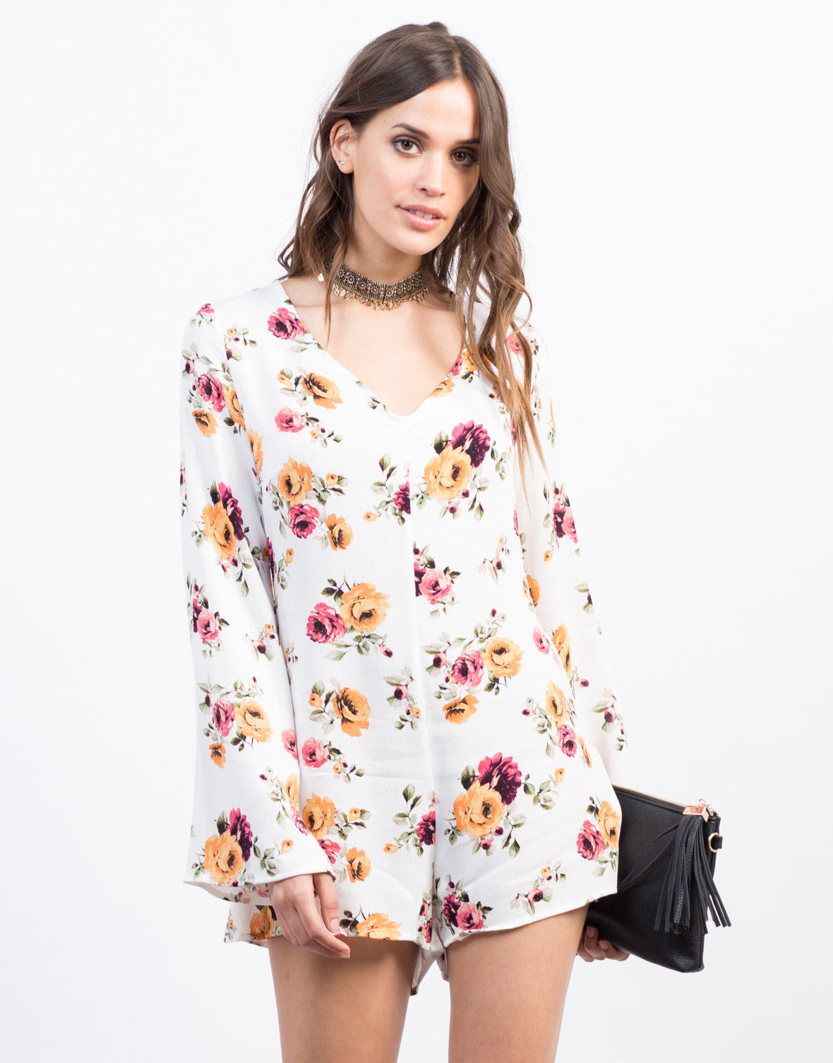 Front View of Spring Floral Romper