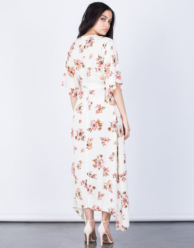 Back View of Spring Floral Wrap Dress
