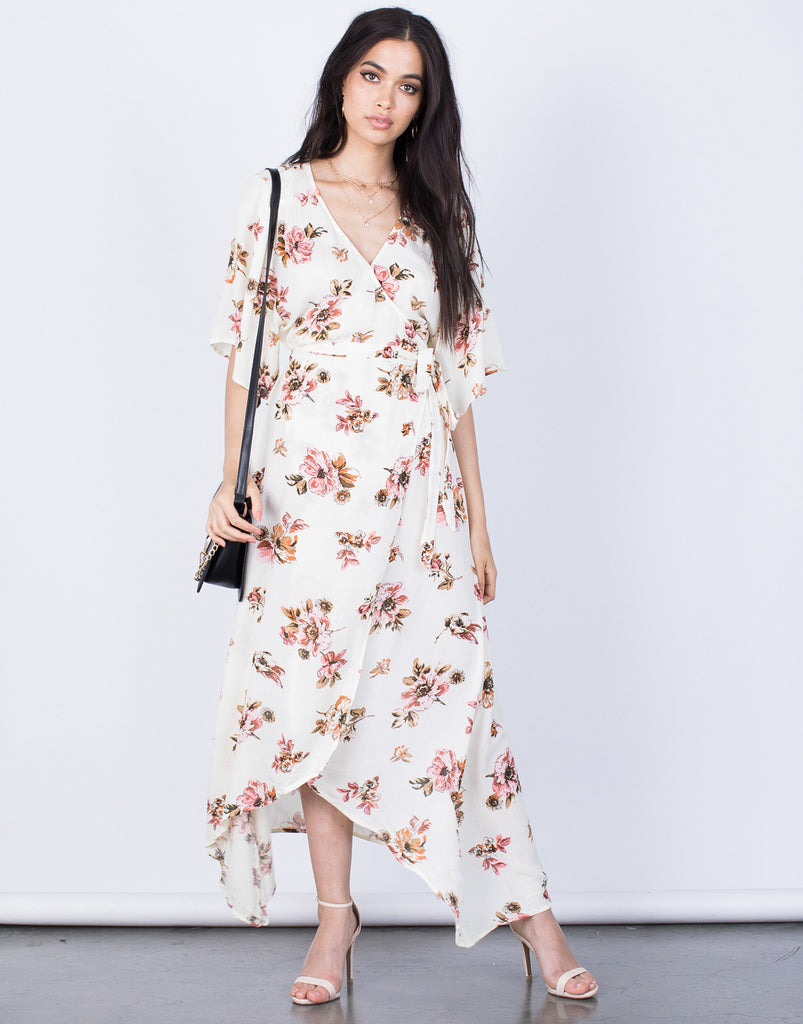 Front View of Spring Floral Wrap Dress
