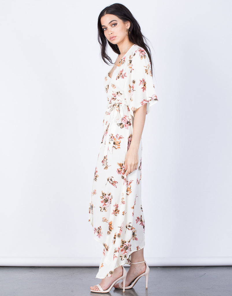 Side View of Spring Floral Wrap Dress