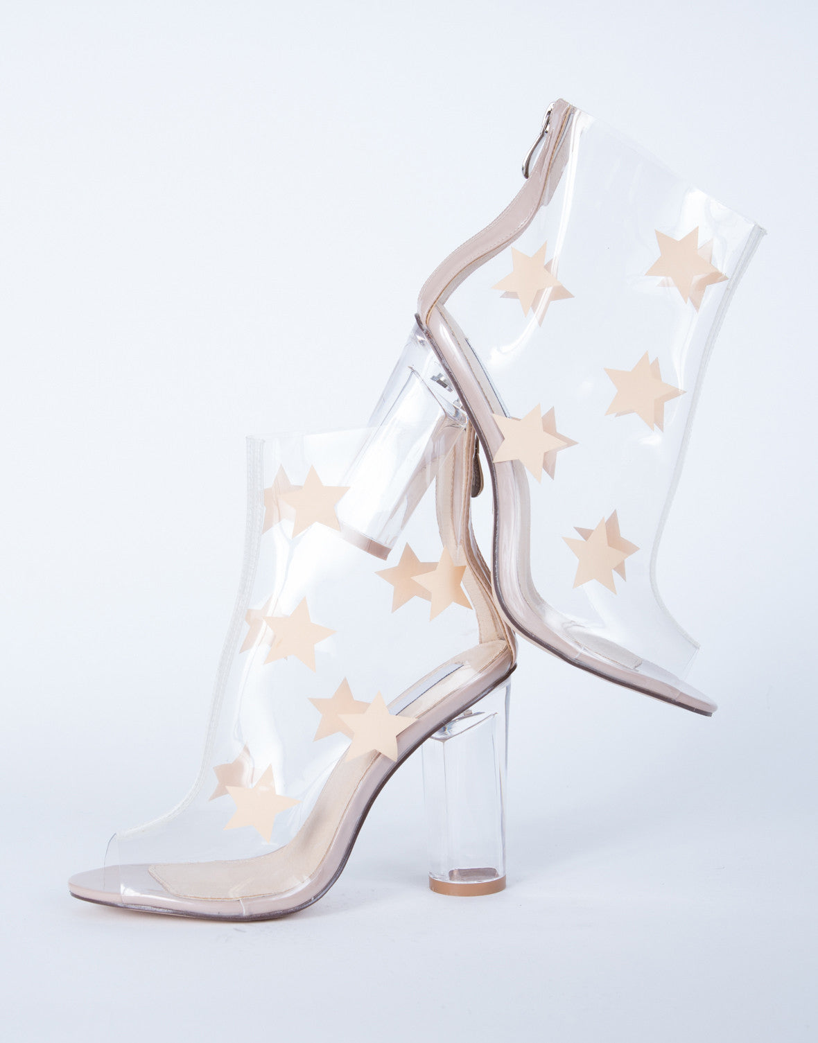 Star Clear Heel Boots Star Clear Pvc Boots Clear Pvc