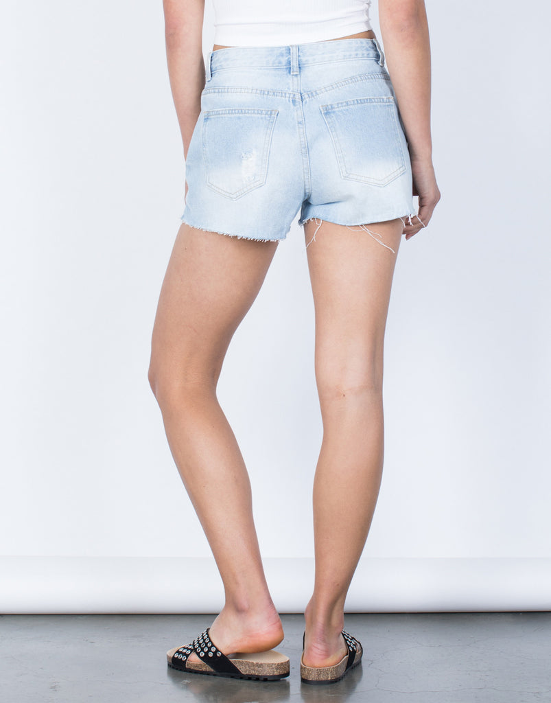 Back View of Starlight Denim Shorts