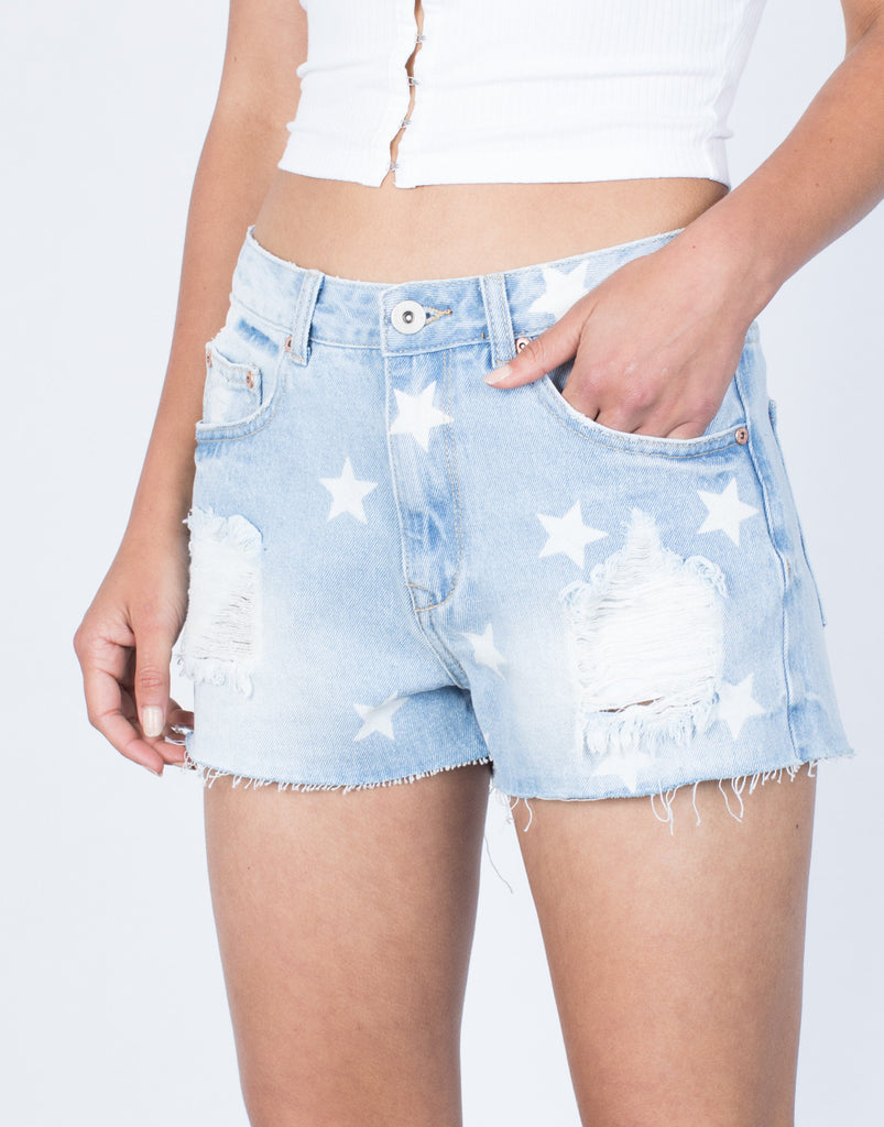 Detail of Starlight Denim Shorts