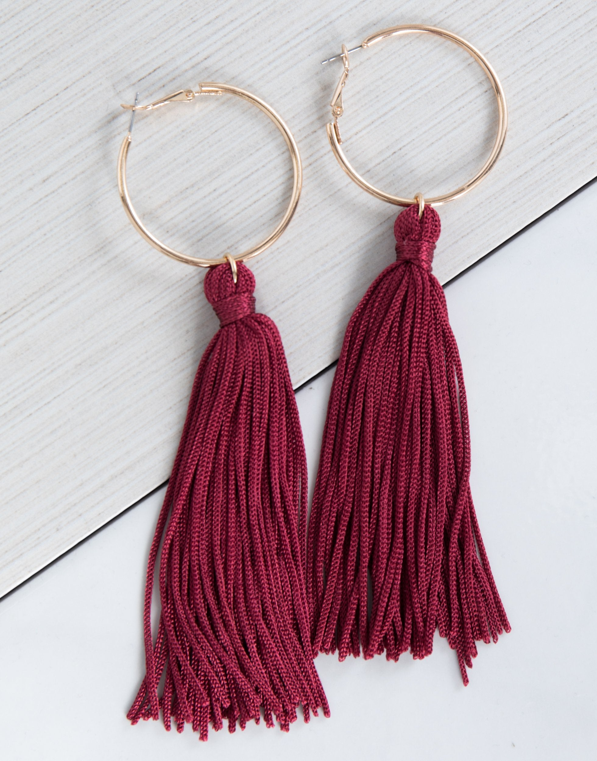 statement extra long beige tassle tassel earrings neutral product