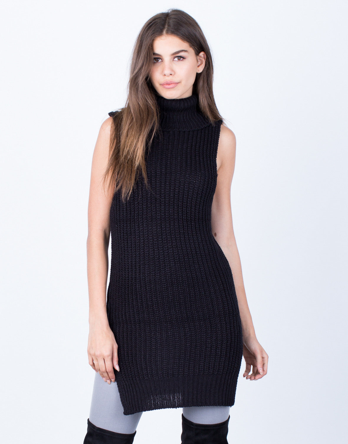 Front View of Stay Comfy Turtleneck Tunic
