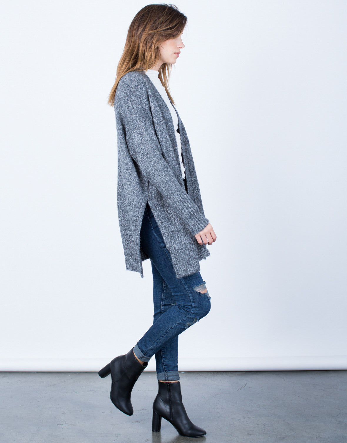 Side View of Stay Cozy Cardigan