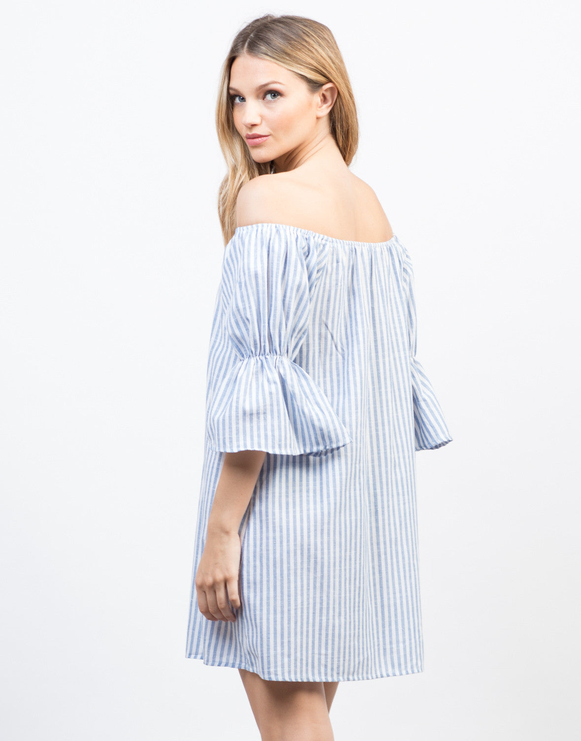 Back View of Stay Off-the-Shoulder Vacation Dress