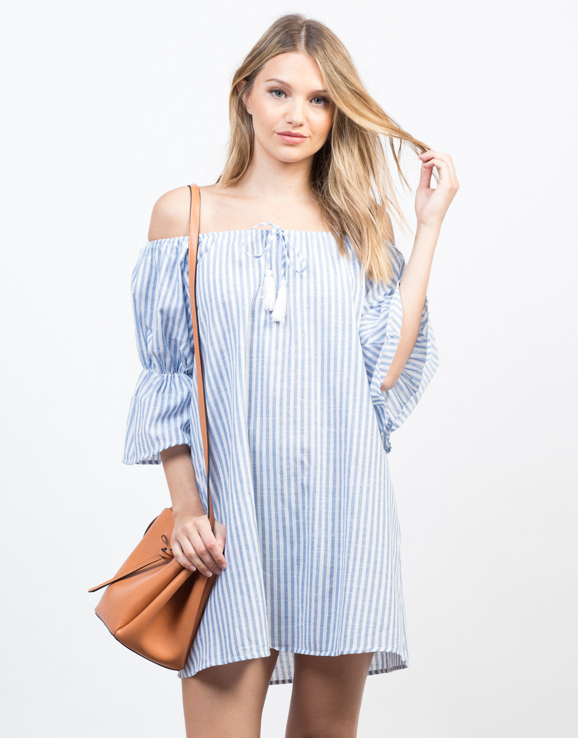 Front View of Stay Off-the-Shoulder Vacation Dress