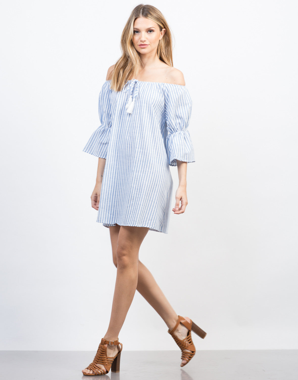 Side View of Stay Off-the-Shoulder Vacation Dress