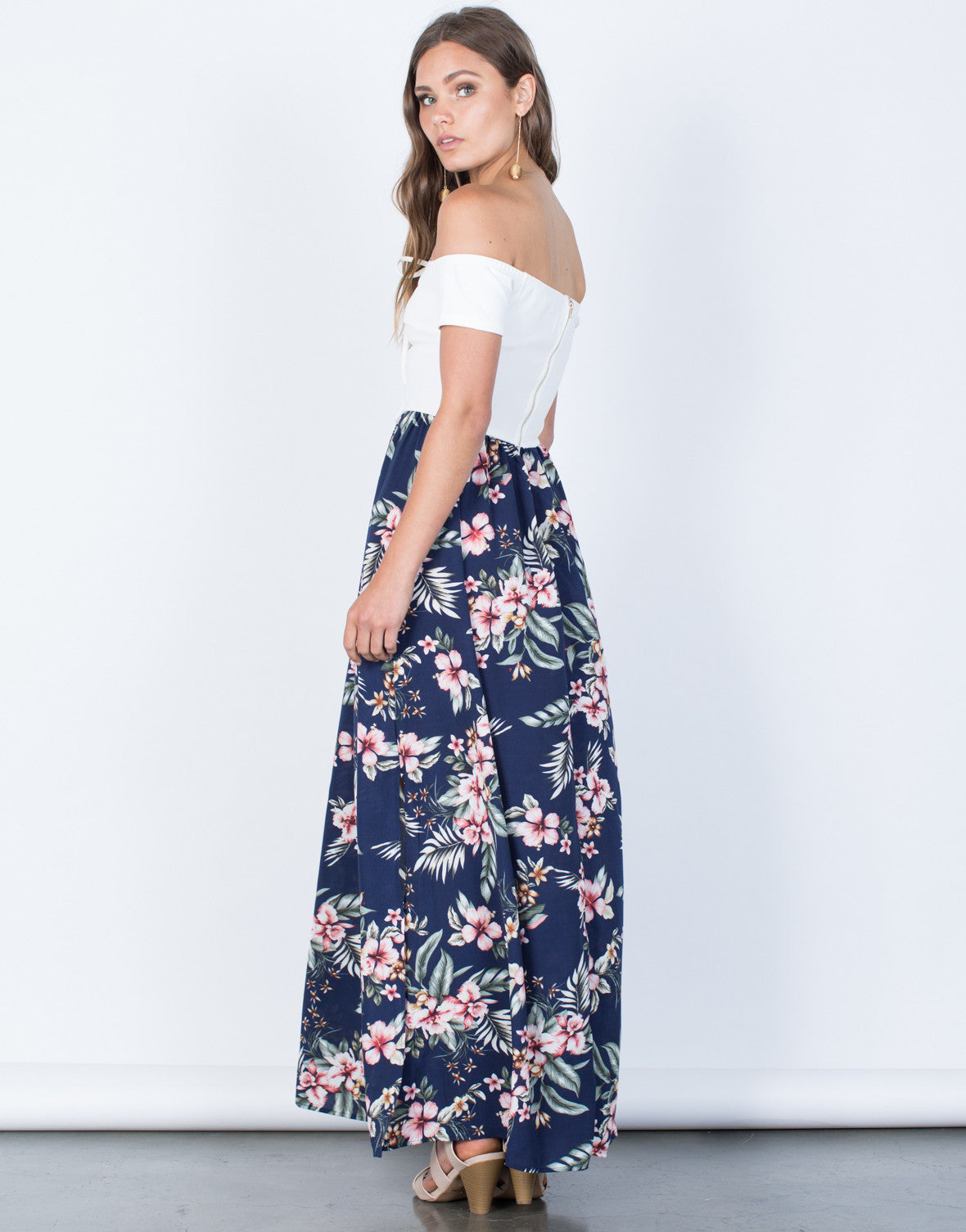Back View of Stay Tropical Maxi Dress