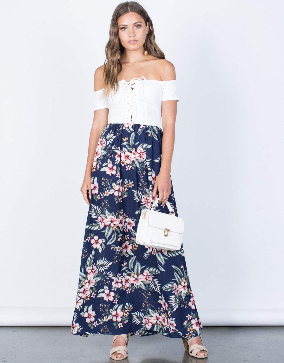 Front View of Stay Tropical Maxi Dress